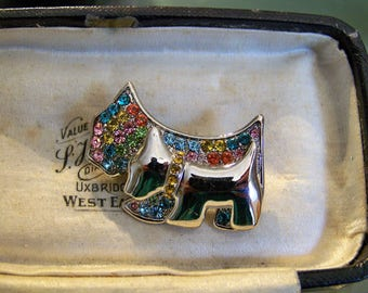 Beautiful Signed Sparkling Silver, Gold, Rhinestone Westie Mum & Puppy Brooch C.1970s
