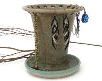 Ceramic Earring  Holder, Organiser, Green Crystalline Glazed, Gift for Girl, Jewellery Display