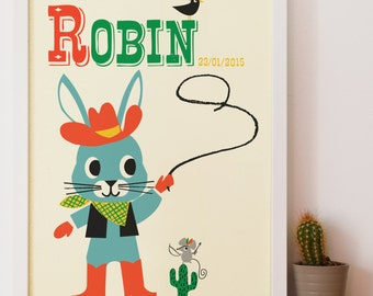 Personalised Rodeo Rabbit Nursery Name Print, Letter R Print New Baby name print Gift, Kids Rodeo Rabbit Print, Nursery Art, cool name print