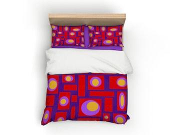 Purple, Retro, Duvet Cover, Home Decor, Bedding, Mid Century Modern, Bedroom Decor, Geometric, Modern Home Decor, Mid Century, Red