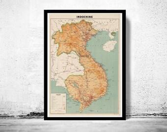 Alte Karte von Indochina 1937