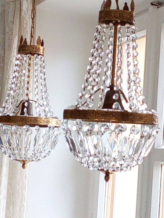 Pair empire montgolfier style chandeliers crystal brass aloadofball Choice Image