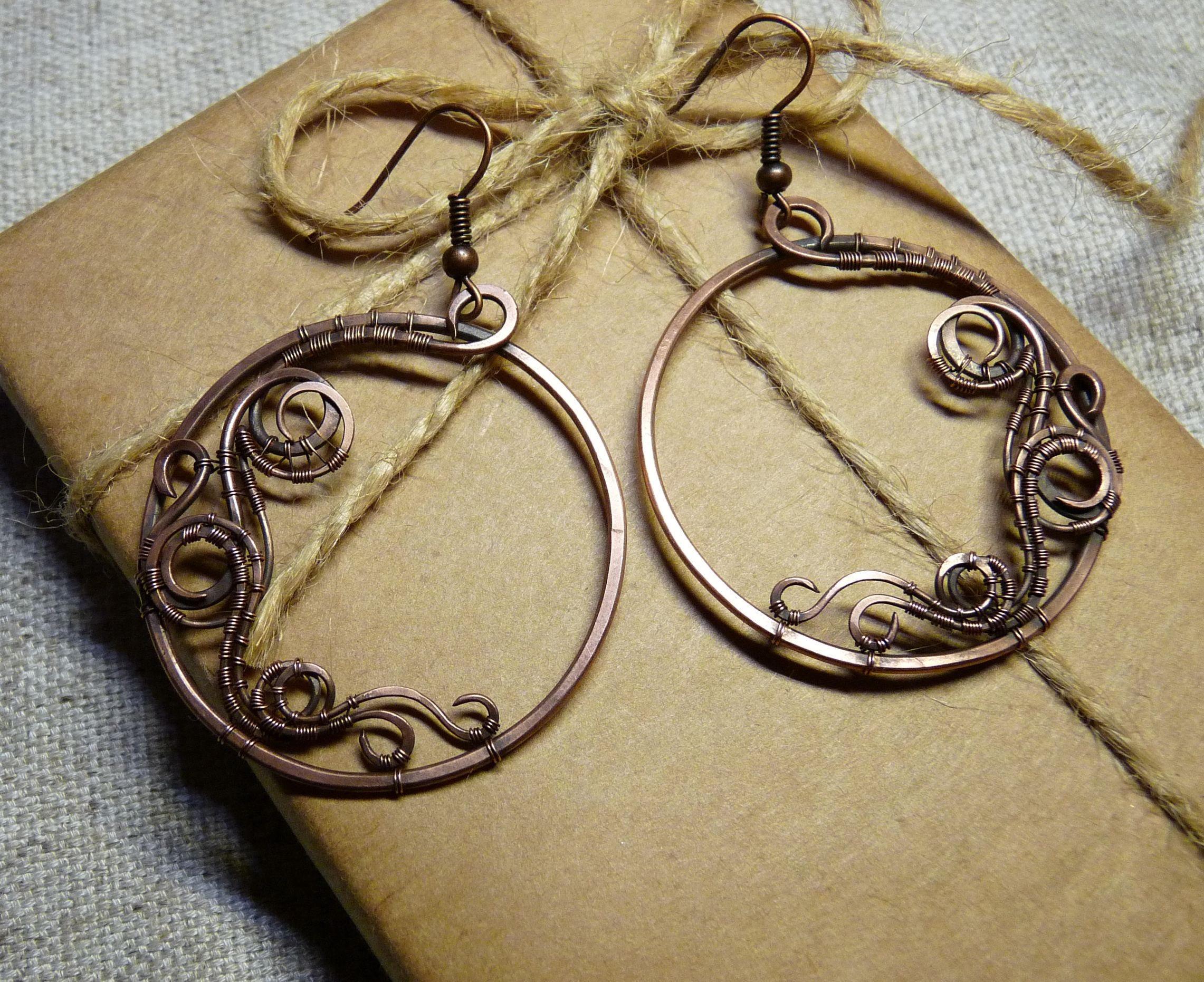 Handcrafted hoop earrings Handmade hoop earrings Wire wrapped