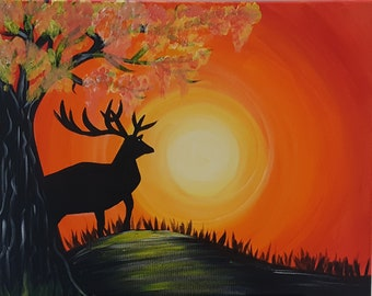 Original Buck at Sunset Acrylic Painting on 16x20 inch stretched canvas