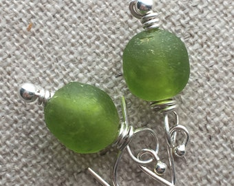 Lime Green Recycled Glass Bead Earrings. Sterling Silver Earrings. Gifts For Her. Green Bead Earrings