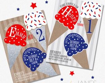 Red, White, Blue Ice Cream Birthday Party Invitation | Digital 4th of July Invitation | 4th of July Birthday - 5X7 with *bonus reverse side*