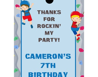 24 Personalized Birthday Favor Tags   - Rock Climbing Party Design