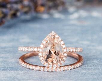 Rose Gold Engagement Ring Set Pear Shaped Morganite Wedding Bridal Set Halo Diamond Stacking Half Eternity Wedding Band Retro Women 2 pieces