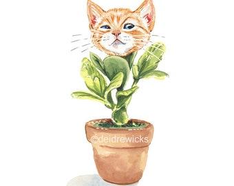 Orange Tabby Watercolour PRINT, Ginger Cat Painting, Potted Flower Plant, Kitten Nursery Art, Pop Surrealism