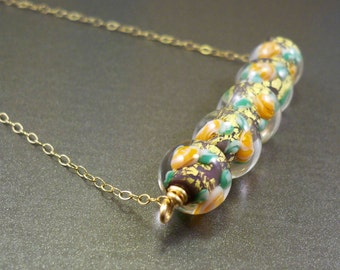 Lampwork necklace gold filled beaded necklace colorful jewelry