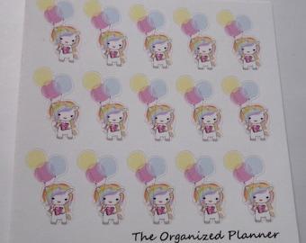 Birthday Unicorn Stickers / Celebrate Stickers / Cute Stickers / Planner Stickers / Party Stickers