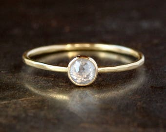 Icy Rose Cut Diamond Ring, Salt & Pepper Natural Color Diamond, 14k or 18k Yellow Gold, Unique Engagement Ring, Conflict Free Bridal Jewelry
