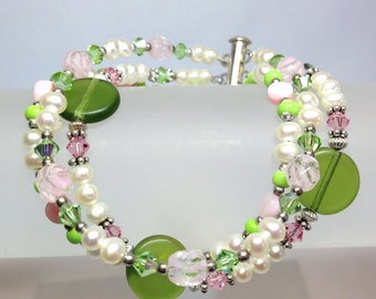 Green with Envy  3 Strand Bracelet