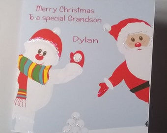 Lovely Personalised Handmade Snowman and Father Xmas Christmas Card.  Grandson, Son, Daughter, Granddaughter, Niece, Nephew, Cousin, Friends