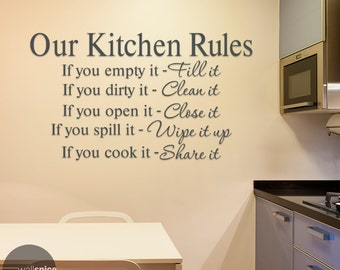 Our Kitchen Rules Fill It Clean It Close It Wipe It Up Share It Vinyl Wall Decal Sticker