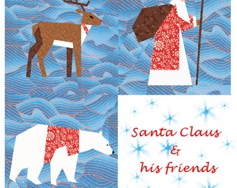 Christmas quilt blocks set, paper pieced quilt pattern, PDF pattern, instant download, Set of 3 paper pieced patterns