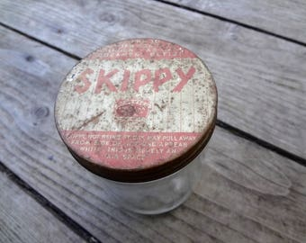 Vintage Skippy Peanut Butter Jar Rusty Top Glass Is Made By Hazel Atlas Glass Co 4 & 1/4 Inches Tall X 3 And 1/8 Inches Wide