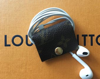 Authentic Louis Vuitton Headphone Wrap,Cord Wrap Clip Repurpose,Recycle,Handmade