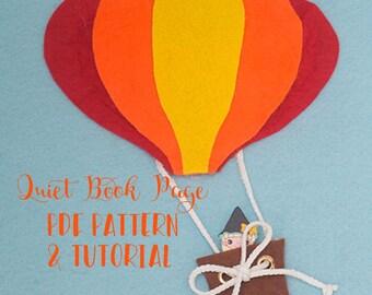 DIY Felt Quiet Book - PDF Pattern - Hot Air Balloon Felt Quiet Book - No Sew Quiet Book Pattern - Busy Book Felt PDF Pattern and Tutorial