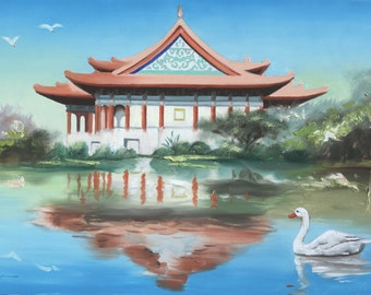 Taiwan building landscape large 24x36 original oils on canvas painting by RUSTY RUST / S-112