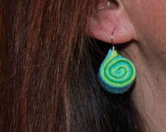 Embroidered felt earrings, unique, spiral multicolor, fresh, summery, sorbet