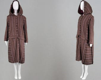 Vintage 70s BILL GIBB Long Wool Coat Oversized Hood Brown Swing Coat 1970s Hippie Coat Striped Stripy Coat Folk Hippy Coat Spring Fall Coat