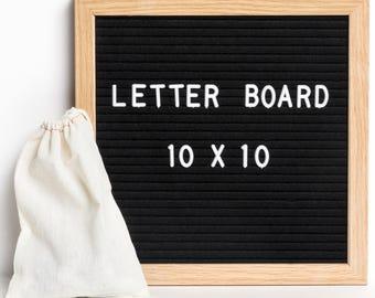 ReadyWerks Felt Letter Board 10 x 10 - Black Felt W/ Oak Frame w/ 290 3/4 Inch Letters: Changeable Letter Board 10x10