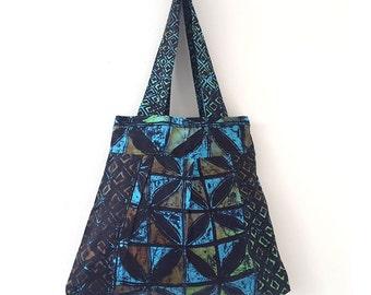 Einkaufstasche, Tie-Dye-Einkaufstasche, Einkaufstasche, African Violet Tasche, Sommertasche, Tasche für Leben, floralen Stoff-Einkaufstasche, blaue und grüne Tasche, batik