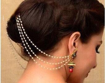 Indian Jhumka | Sahara earrings | Pakistani jewelry | Bollywood jewelry | Ear chain | Earring support earrings