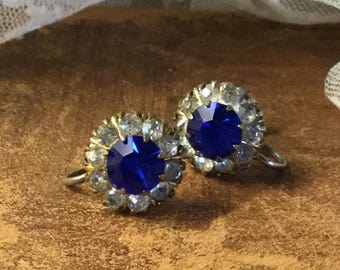 Elegant Royal Blue Clear Rhinestone Earrings Screwback Unsigned 1930's 1940's Evening Wear Round Princess Cut Faceted Rhinestones Feminine