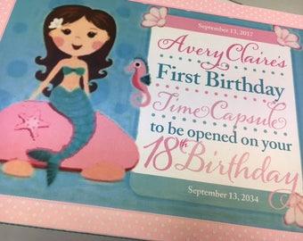 1st Birthday Time Capusule Keepsake box -CUSTOM MermaidTheme