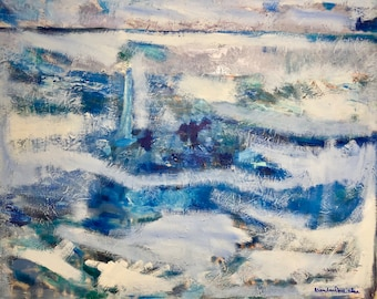 Sailboat ocean impressionist blue,green,purple,gray,cloudy sky,waves Original oil painting  24 x 30 inch on stretch canvas by BrandanC