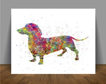 Dachshund Dog Sausage Dog Watercolor Poster Print Pictures Wall Art Canvas  Painting Home Decor Wall Hanging