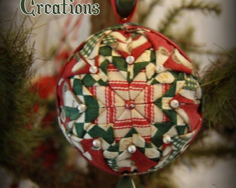 Handmade Quilted & Beaded Christmas Ball Ornament Dark Red White Green