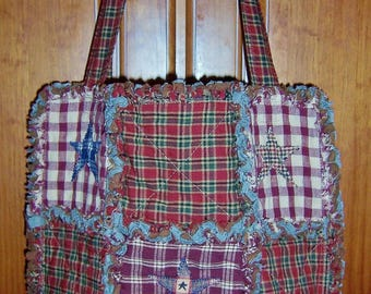 Rag Quilt Tote Bag | Handbag | Homespun Fabrics | Country Chic | Boho | Country Tote | Best Selling Item
