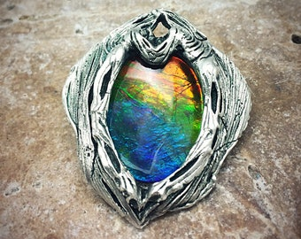 Silver PMC and Vivid Ammolite Quartz Capped Triplet pendant