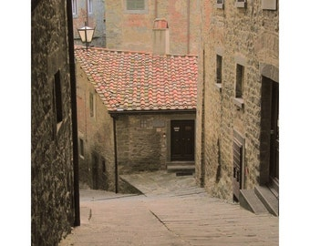 "Fine Art Color Travel Photography of Tuscany - ""Down the Lane in Cortona"" - Verical or Square"