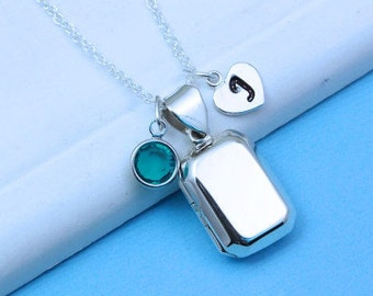 Rectangular silver Locket Necklace, Genuine 925 Sterling Silver Locket- Custom charms Included, most popular item, Small locket . R-29