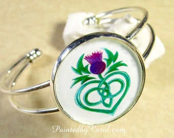 Celtic Thistle Cuff Bracelet, Scottish Thistle Jewelry, Celtic Thistle Bracelet, Thistle Gifts, Gifts with Thistle, Purple Thistle Gifts