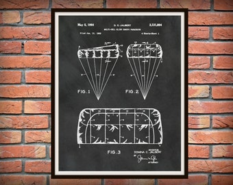 1964 T-11 Parachute Patent - US Military Armed Forces - Soldier Wall Art - Paratrooper Wall Art - Army Airborne Assault - Airborne Wall Art