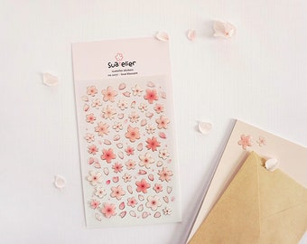 Flower Stickers [Love Blossom] / 1077 / Floral Stickers / Floral Decal Stickers / Scrapbooking / Stationery /Journal Decals /Planner Sticker