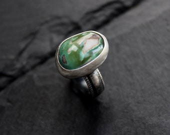 READY TO SHIP - Green Royston Turquoise Sterling Silver Ring | Size 7 | Nevada Mine | Boho Bohemian Minimalist | Gugma Jewelry