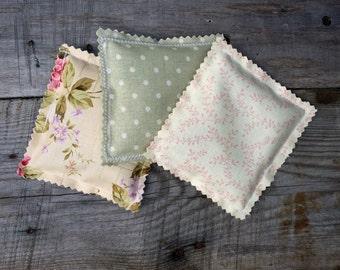 Lavender Fabric Sachets, Sachet Pillows, Wedding Favor, Baby Shower Favor, Lavender Scented Drawer Sachet Pillows