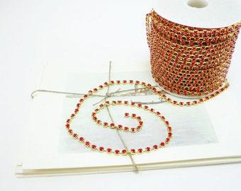 Gold Rhinestone Chain, Red Siam Crystal, (4mm / 1 Foot Qty)