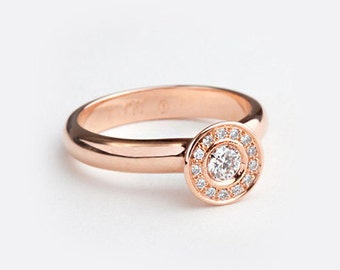 Unique Halo Diamond Engagement Ring, Cluster Diamond Ring, 18k Rose Gold Engagement Ring Engagement Ring for Her Promise Ring