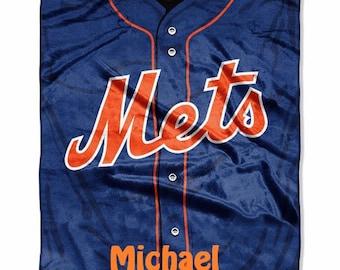 MLB New York METS Jersey Raschel Throw Blanket - Personalized