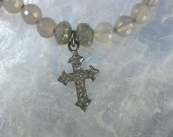 Genuine Diamond and Labradorite Cross beaded Necklace.  Handmade, one of a kind