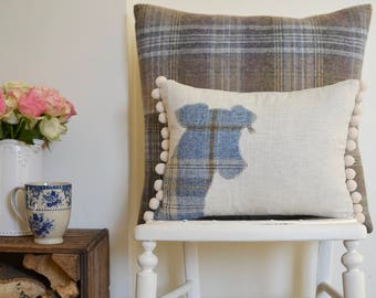 Jack Russel cushion with pompom trim | Linen cushion with wool tweed Terrier design | Jack Russel gift | Jack Russel Terrier scatter cushion
