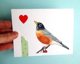 Bird Card, Watercolor Card, Watercolor Bird, Collage Card, Greeting Card, Bird Art, bird print, Robin bird card, robin art blank card