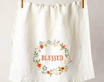 Blessed Floral Wreath Flour Sack Tea Towel, Perfect Housewarming or Hostess Gift